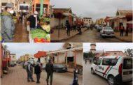 مراقبة مسافة الأمان من كورونا بمحلات التبضع من طرف السلطات العمومية المحلية وجماعة زايو