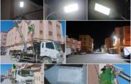 جماعة زايو » مصلحة الإنارة العمومية تعمل على تغيير مصابيح الإنارة القديمة بأخرى جديدة من نوع LED  بشارع الإنبعاث