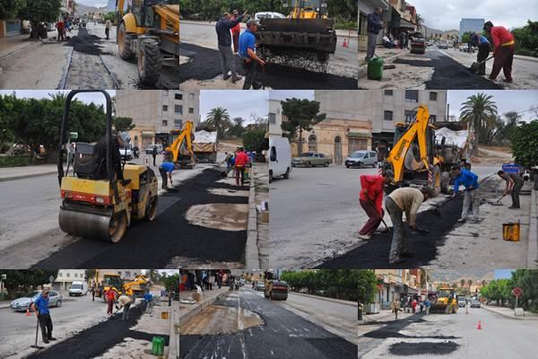 إصلاح وترميم الطرق المتضررة من أشغال تجديد وتوسيع شبكة قنوات الصرف الصحي بمدينة زايو